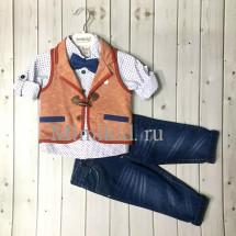 """Костюм для мальчиков с жилеткой кирпичного цвета bebus из 4-х предметов """"модник"""""""