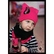 Комплект малиновый (шапка-кошка и снуд) «Кошка Марта»