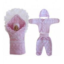 Комплект на выписку кружевной розовый «Очаровашка», летний