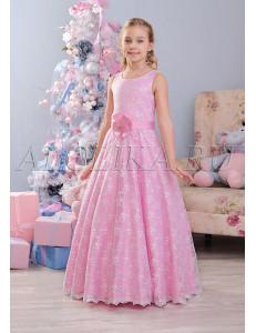 Платье нарядное в пол розового цвета Констанция