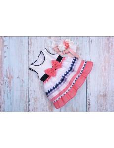 Платье нарядное для малышек в полоску с бантиком bebus