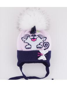 "Шапка зимняя сине-розового цвета с белым помпоном ""салки"""
