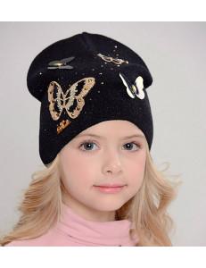"""Шапка черного цвета с бабочками для девочек """"Волшебница"""""""