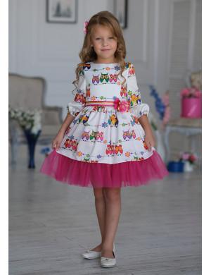Платье нарядное белого цвета с совятами Синди